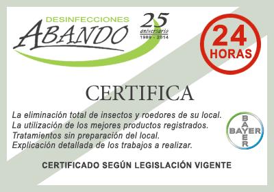 certificado plagas
